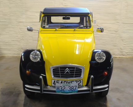 The 1979 Citroën isn't actually a Mitchell, but it is part of Lewis Miller's collection! It's a cute little car with a whole lot of school spirit so it lives in the museum with all the other cars to keep it company.