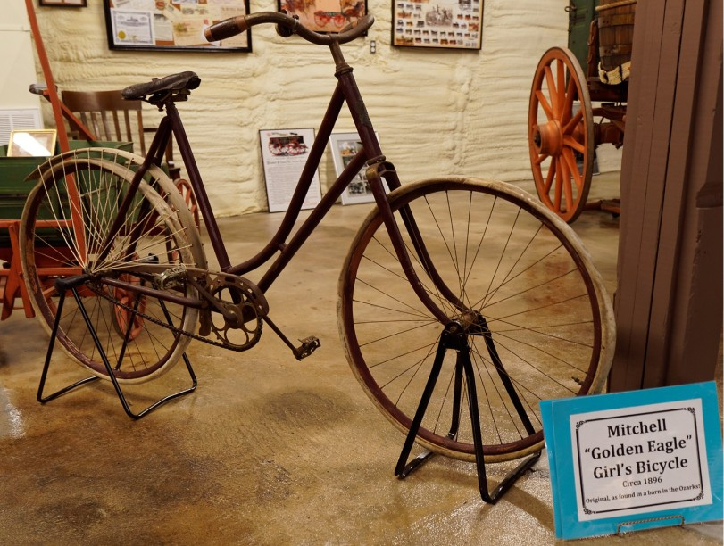 This girls bicycle, found in a barn in the Ozarks, is the only Mitchell bicycle known to exist.
