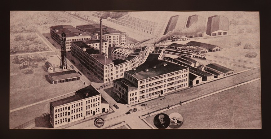 Mitchell Wagon Plant at the corner of 6th and Center in Racine.  Notice the rail line coming in from the right.